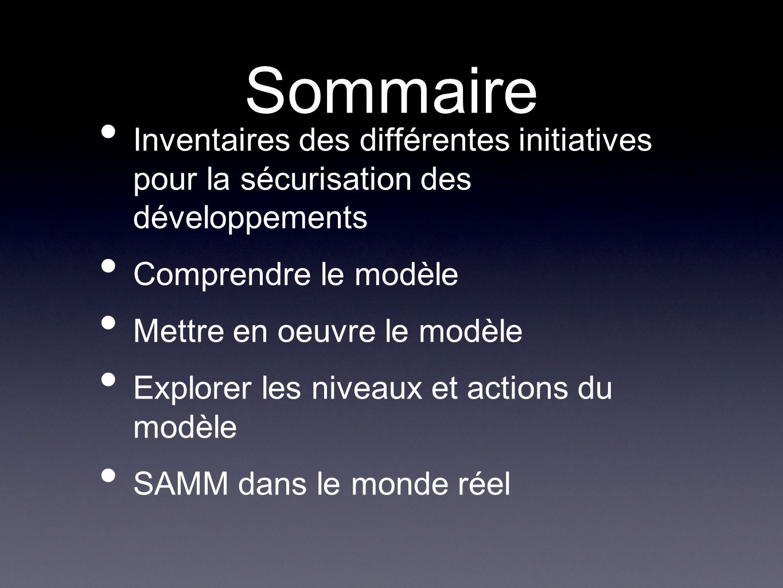 Sommaire Inventaires des différentes initiatives pour la sécurisation des développements Comprendre le modèle Mettre en oeuvre le modèle Explorer les niveaux et actions du modèle SAMM dans le monde réel