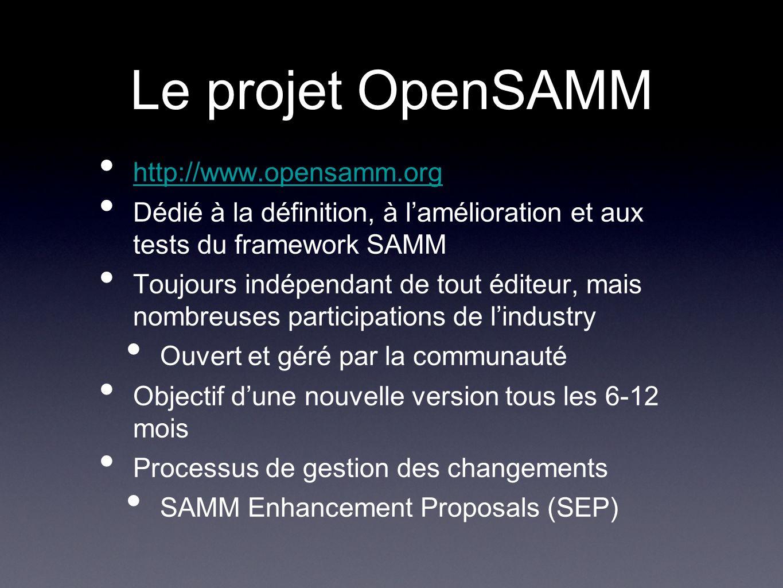 Le projet OpenSAMM http://www.opensamm.org Dédié à la définition, à lamélioration et aux tests du framework SAMM Toujours indépendant de tout éditeur, mais nombreuses participations de lindustry Ouvert et géré par la communauté Objectif dune nouvelle version tous les 6-12 mois Processus de gestion des changements SAMM Enhancement Proposals (SEP)