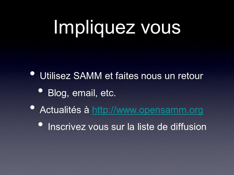 Impliquez vous Utilisez SAMM et faites nous un retour Blog, email, etc.