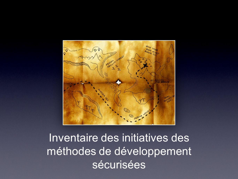 Inventaire des initiatives des méthodes de développement sécurisées
