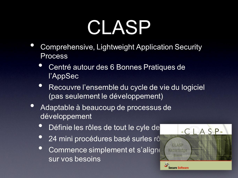 CLASP Comprehensive, Lightweight Application Security Process Centré autour des 6 Bonnes Pratiques de lAppSec Recouvre lensemble du cycle de vie du logiciel (pas seulement le développement) Adaptable à beaucoup de processus de développement Définie les rôles de tout le cyle de développement 24 mini procédures basé surles rôles Commence simplement et saligne sur vos besoins