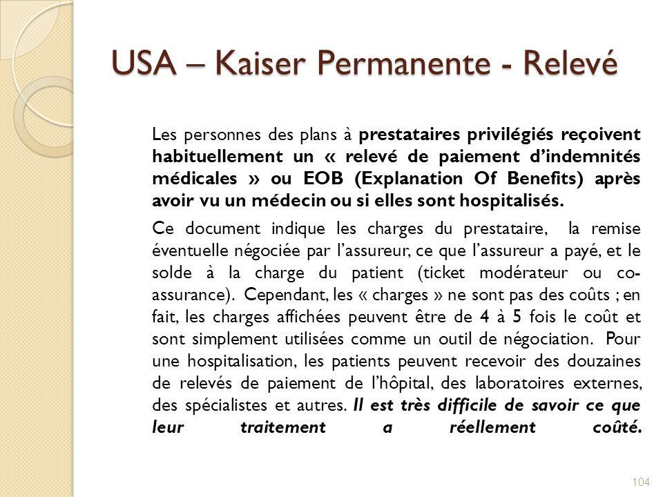 USA – Kaiser Permanente - Relevé Les personnes des plans à prestataires privilégiés reçoivent habituellement un « relevé de paiement dindemnités médic