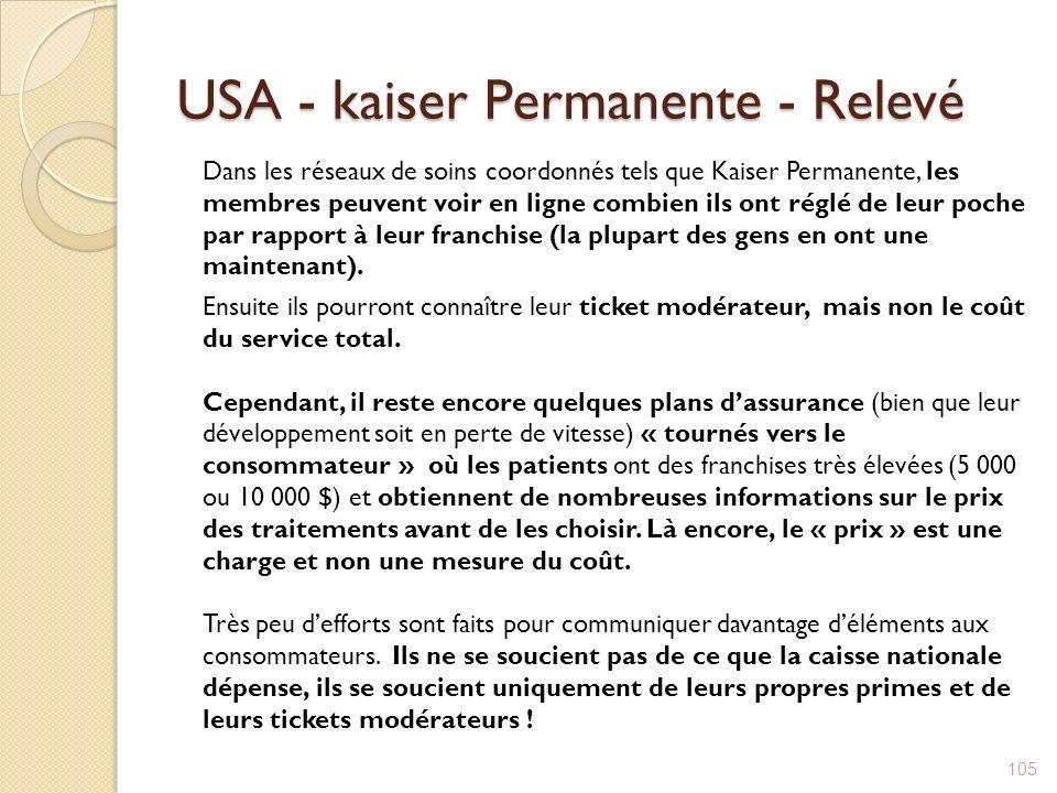 USA - kaiser Permanente - Relevé Dans les réseaux de soins coordonnés tels que Kaiser Permanente, les membres peuvent voir en ligne combien ils ont ré
