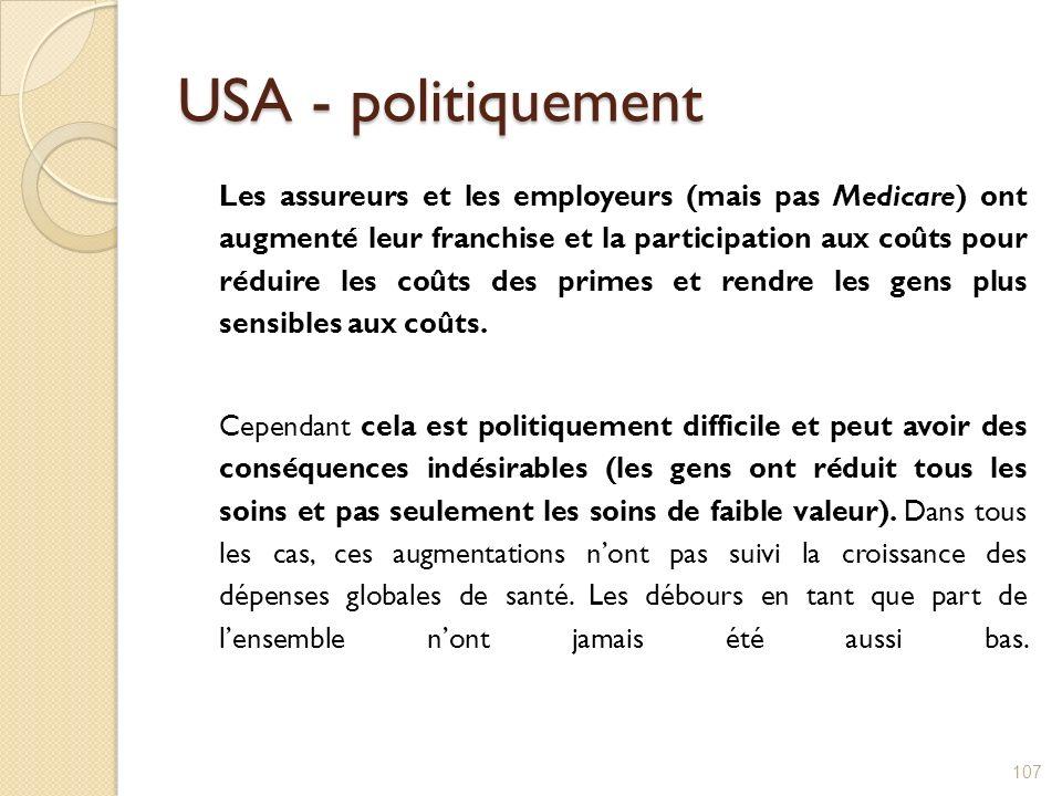 USA - politiquement Les assureurs et les employeurs (mais pas Medicare) ont augmenté leur franchise et la participation aux coûts pour réduire les coû