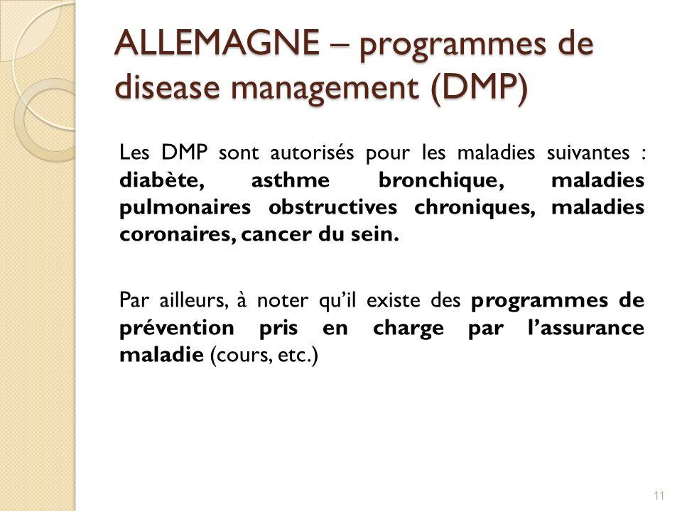 ALLEMAGNE – programmes de disease management (DMP) Les DMP sont autorisés pour les maladies suivantes : diabète, asthme bronchique, maladies pulmonair