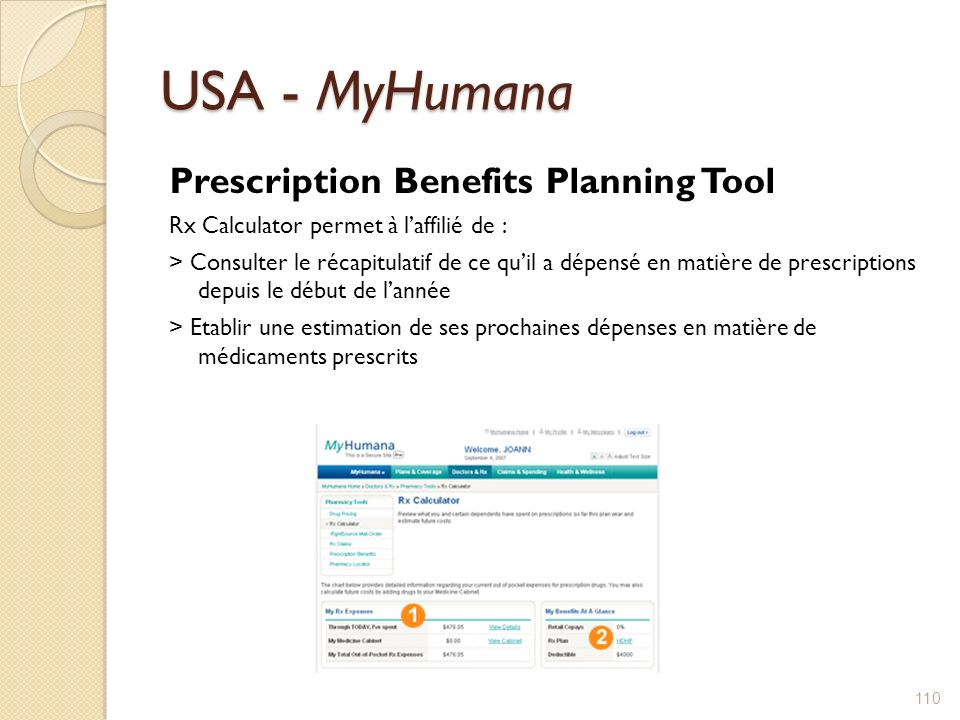 USA - MyHumana Prescription Benefits Planning Tool Rx Calculator permet à laffilié de : > Consulter le récapitulatif de ce quil a dépensé en matière de prescriptions depuis le début de lannée > Etablir une estimation de ses prochaines dépenses en matière de médicaments prescrits 110
