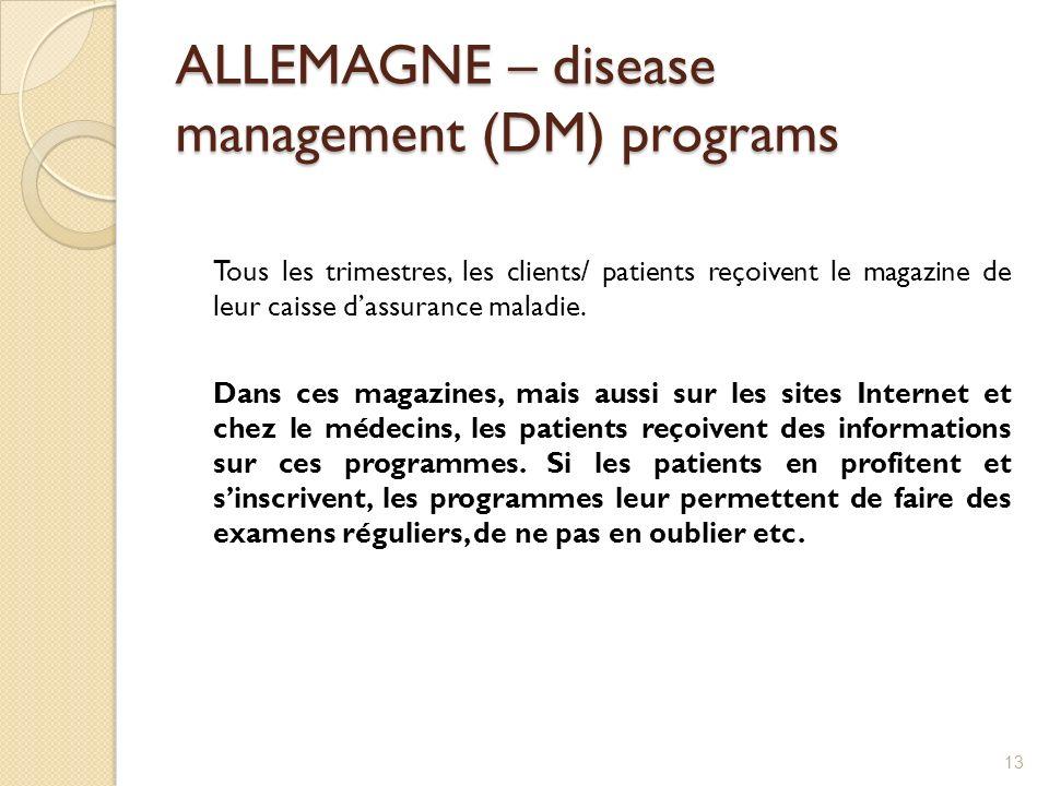 ALLEMAGNE – disease management (DM) programs Tous les trimestres, les clients/ patients reçoivent le magazine de leur caisse dassurance maladie. Dans