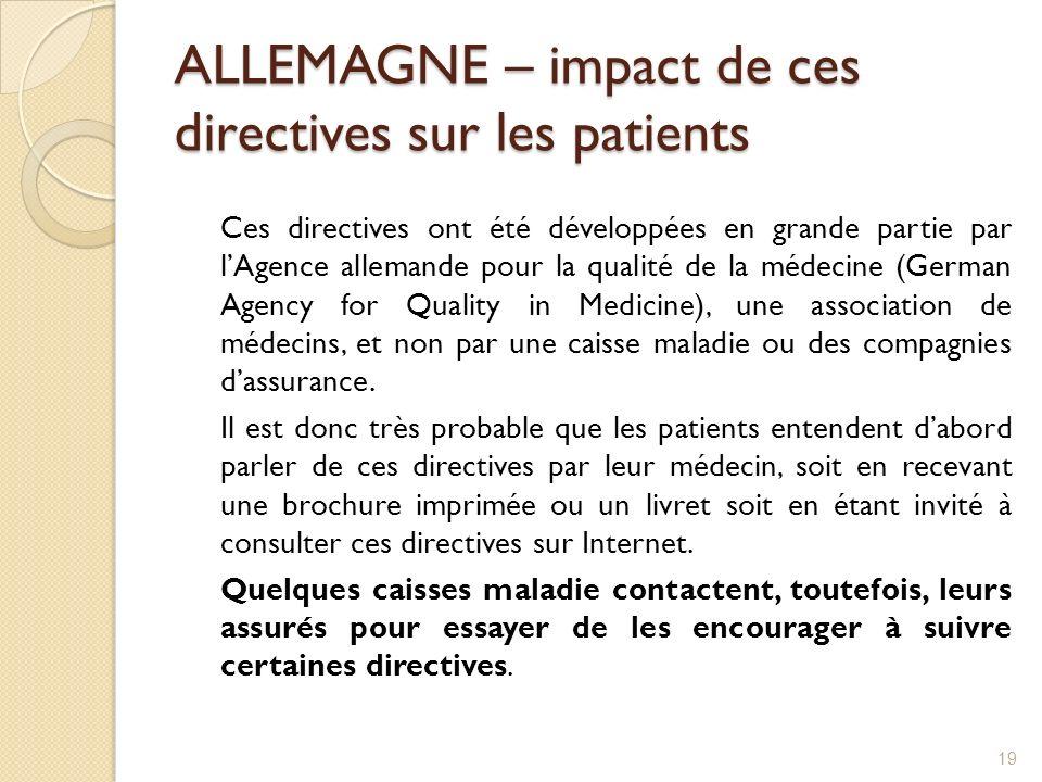 ALLEMAGNE – impact de ces directives sur les patients Ces directives ont été développées en grande partie par lAgence allemande pour la qualité de la