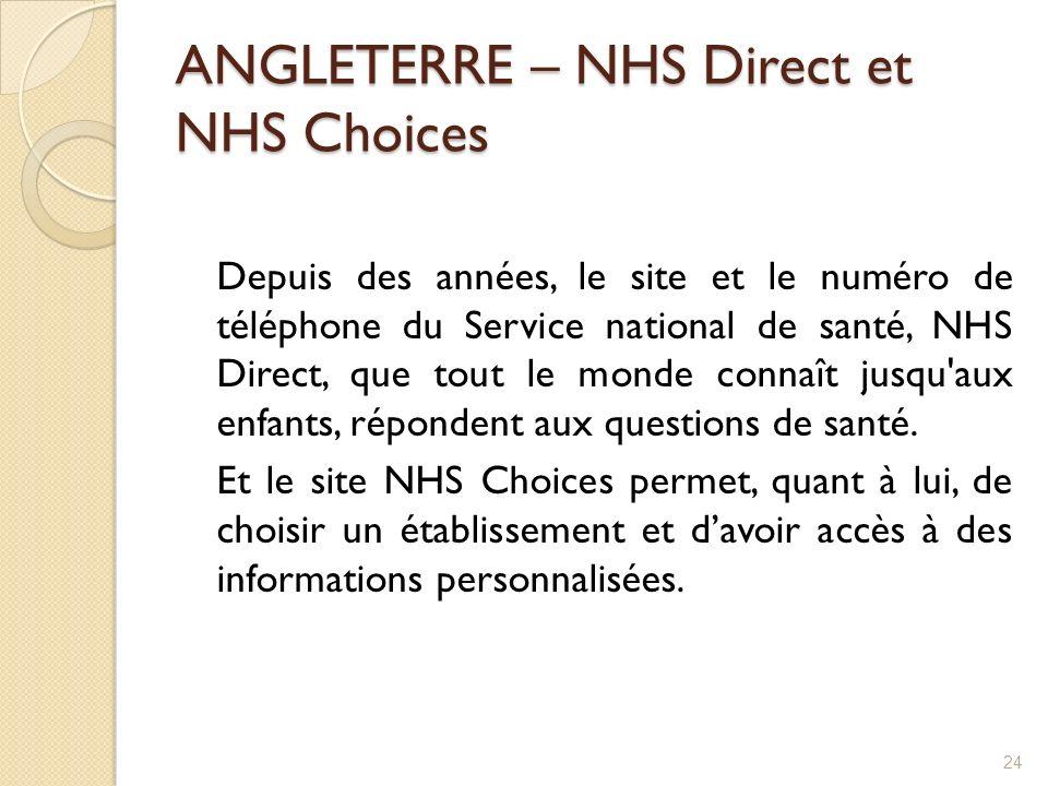 ANGLETERRE – NHS Direct et NHS Choices Depuis des années, le site et le numéro de téléphone du Service national de santé, NHS Direct, que tout le mond