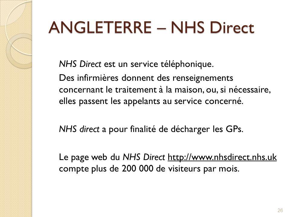 ANGLETERRE – NHS Direct NHS Direct est un service téléphonique. Des infirmières donnent des renseignements concernant le traitement à la maison, ou, s