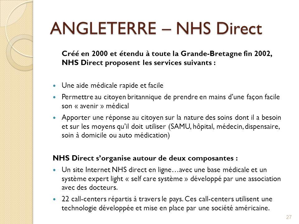 ANGLETERRE – NHS Direct Créé en 2000 et étendu à toute la Grande-Bretagne fin 2002, NHS Direct proposent les services suivants : Une aide médicale rap