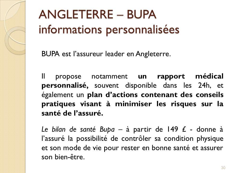 ANGLETERRE – BUPA informations personnalisées BUPA est lassureur leader en Angleterre. Il propose notamment un rapport médical personnalisé, souvent d