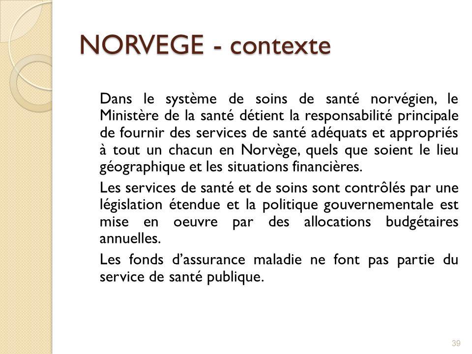 NORVEGE - contexte Dans le système de soins de santé norvégien, le Ministère de la santé détient la responsabilité principale de fournir des services