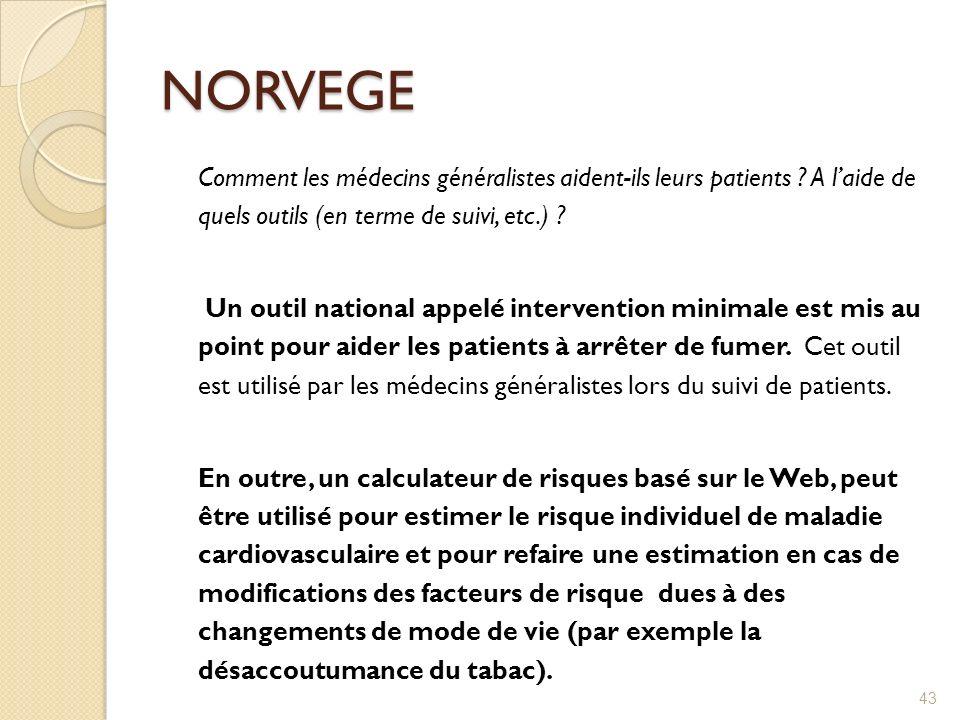 NORVEGE Comment les médecins généralistes aident-ils leurs patients ? A laide de quels outils (en terme de suivi, etc.) ? Un outil national appelé int