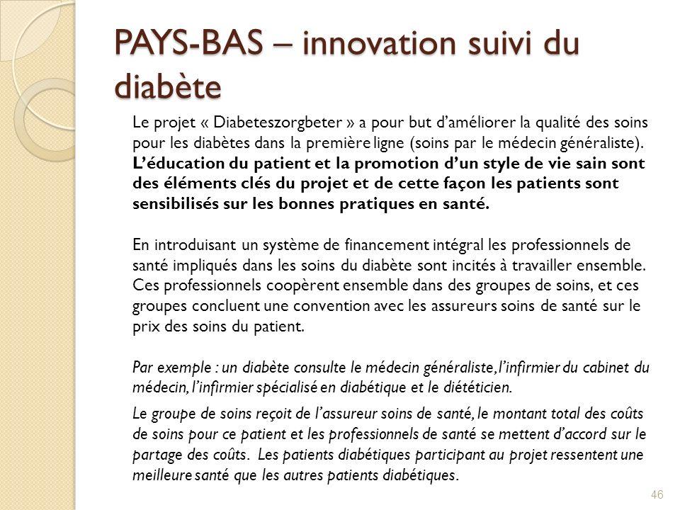 PAYS-BAS – innovation suivi du diabète Le projet « Diabeteszorgbeter » a pour but daméliorer la qualité des soins pour les diabètes dans la première l