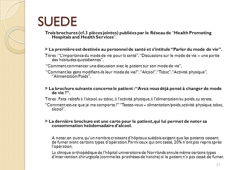 SUEDE Trois brochures (cf. 3 pièces jointes) publiées par le Réseau de Health Promoting Hospitals and Health Services. > La première est destinée au p