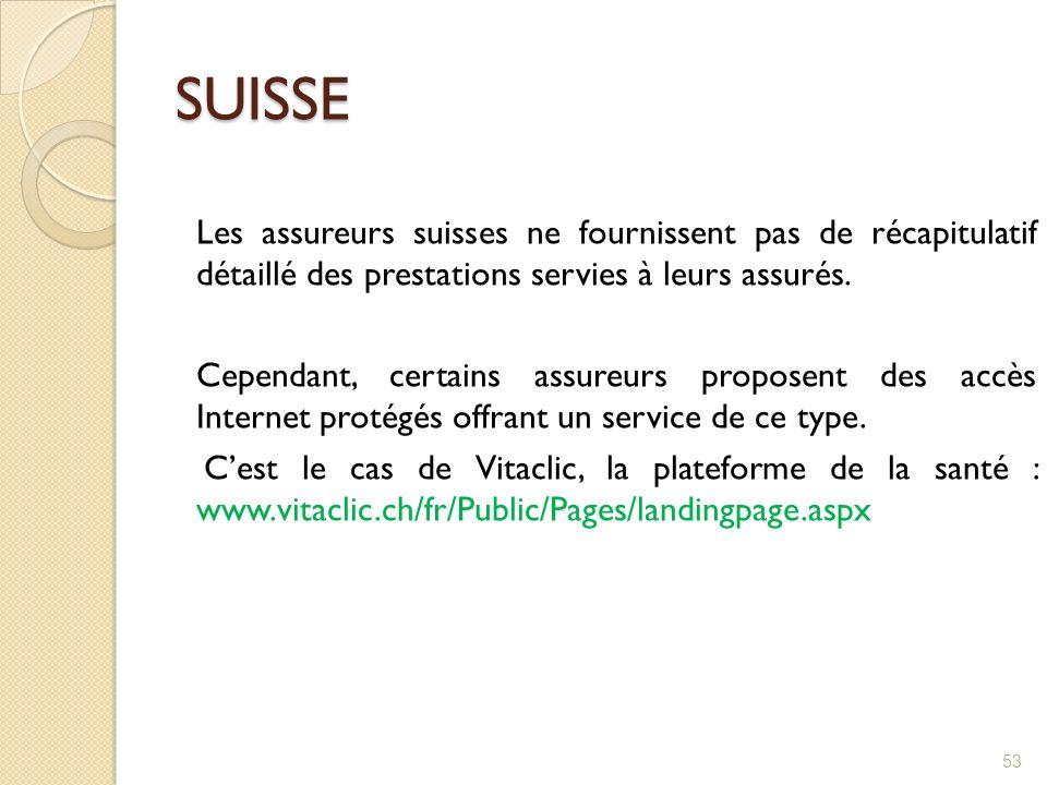 SUISSE Les assureurs suisses ne fournissent pas de récapitulatif détaillé des prestations servies à leurs assurés. Cependant, certains assureurs propo