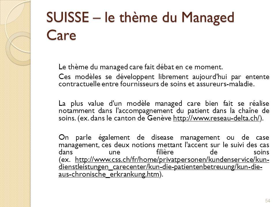 SUISSE – le thème du Managed Care Le thème du managed care fait débat en ce moment. Ces modèles se développent librement aujourd'hui par entente contr