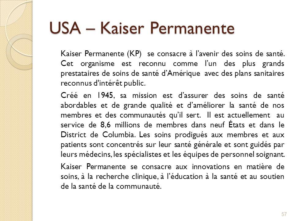 USA – Kaiser Permanente Kaiser Permanente (KP) se consacre à lavenir des soins de santé. Cet organisme est reconnu comme lun des plus grands prestatai