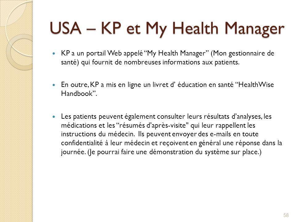 USA – KP et My Health Manager KP a un portail Web appelé My Health Manager (Mon gestionnaire de santé) qui fournit de nombreuses informations aux pati