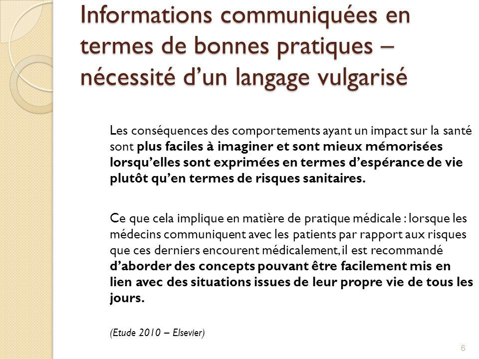 Informations communiquées en termes de bonnes pratiques – nécessité dun langage vulgarisé Les conséquences des comportements ayant un impact sur la sa