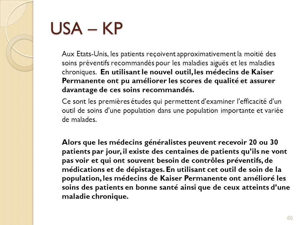 USA – KP Aux Etats-Unis, les patients reçoivent approximativement la moitié des soins préventifs recommandés pour les maladies aiguës et les maladies