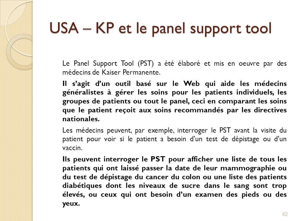 USA – KP et le panel support tool Le Panel Support Tool (PST) a été élaboré et mis en oeuvre par des médecins de Kaiser Permanente. Il sagit dun outil