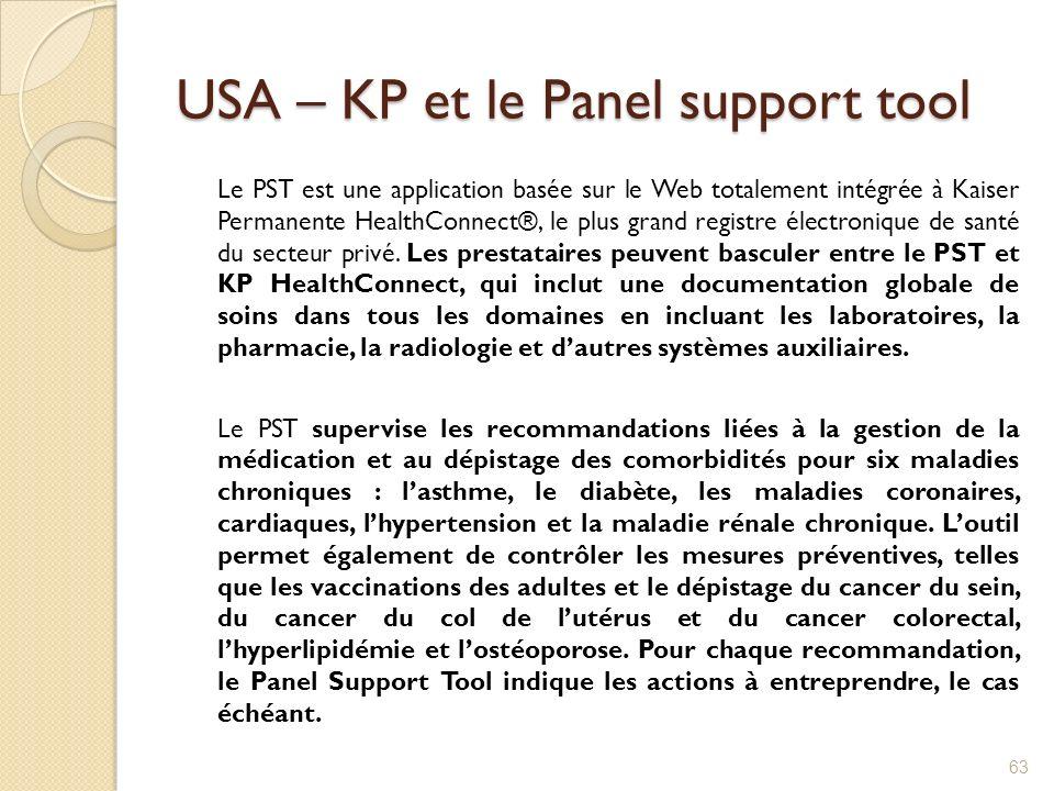 USA – KP et le Panel support tool Le PST est une application basée sur le Web totalement intégrée à Kaiser Permanente HealthConnect®, le plus grand re
