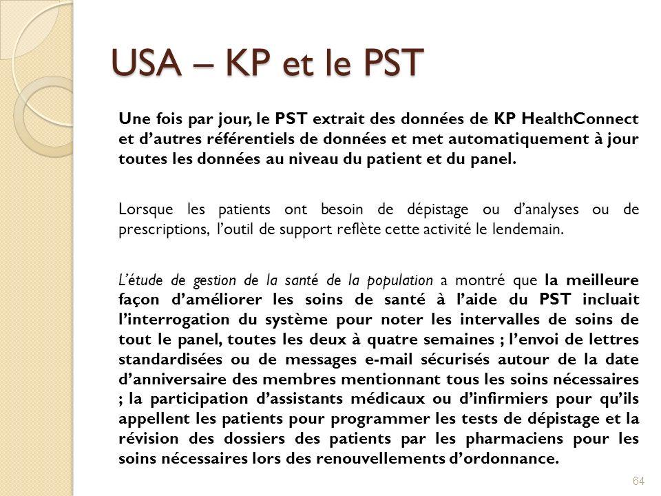 USA – KP et le PST Une fois par jour, le PST extrait des données de KP HealthConnect et dautres référentiels de données et met automatiquement à jour