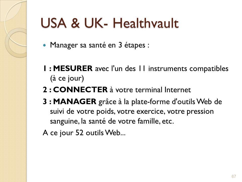 USA & UK- Healthvault Manager sa santé en 3 étapes : 1 : MESURER avec l'un des 11 instruments compatibles (à ce jour) 2 : CONNECTER à votre terminal I