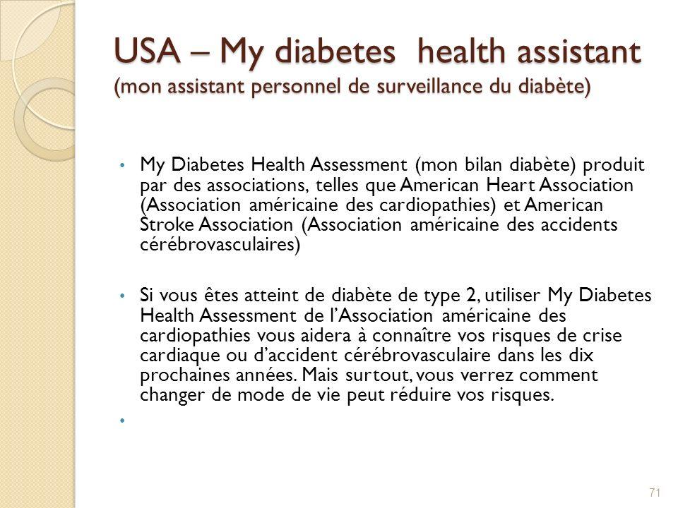 USA – My diabetes health assistant (mon assistant personnel de surveillance du diabète) My Diabetes Health Assessment (mon bilan diabète) produit par