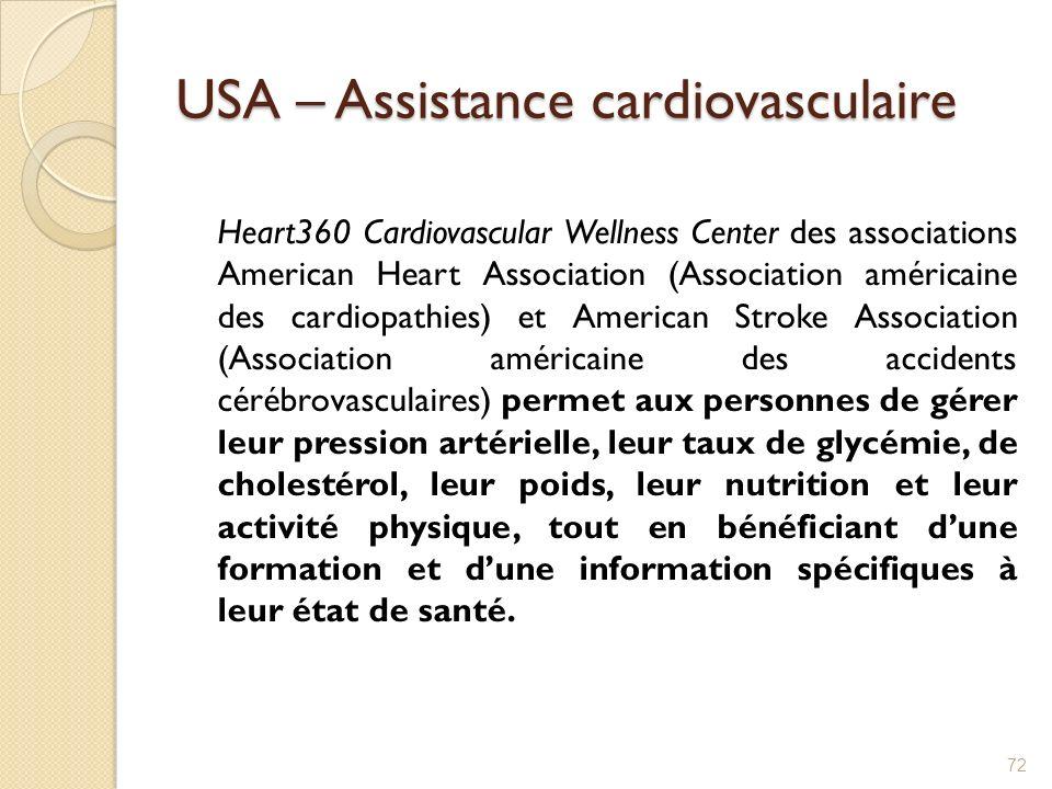 USA – Assistance cardiovasculaire Heart360 Cardiovascular Wellness Center des associations American Heart Association (Association américaine des card