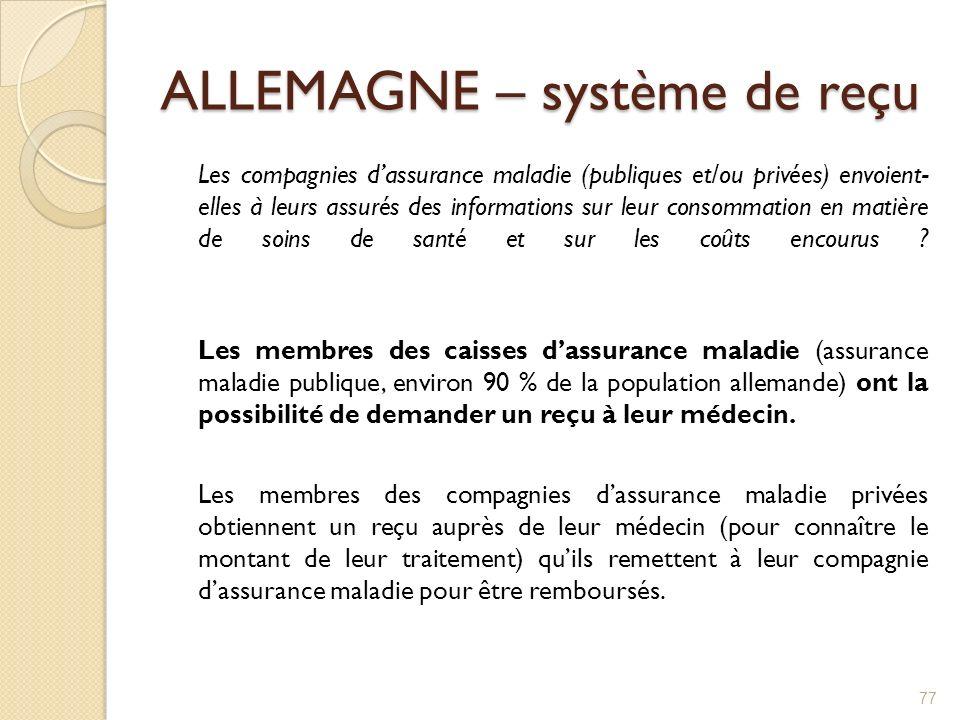 ALLEMAGNE – système de reçu Les compagnies dassurance maladie (publiques et/ou privées) envoient- elles à leurs assurés des informations sur leur cons