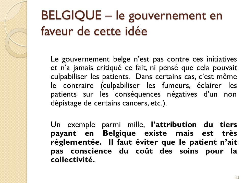 BELGIQUE – le gouvernement en faveur de cette idée Le gouvernement belge nest pas contre ces initiatives et na jamais critiqué ce fait, ni pensé que c