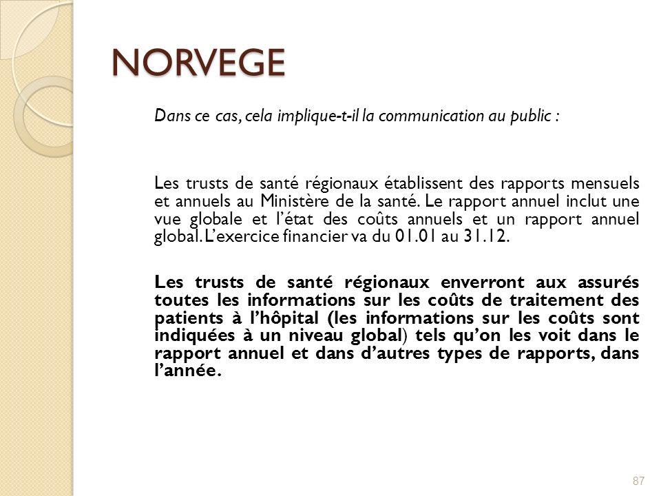 NORVEGE Dans ce cas, cela implique-t-il la communication au public : Les trusts de santé régionaux établissent des rapports mensuels et annuels au Min
