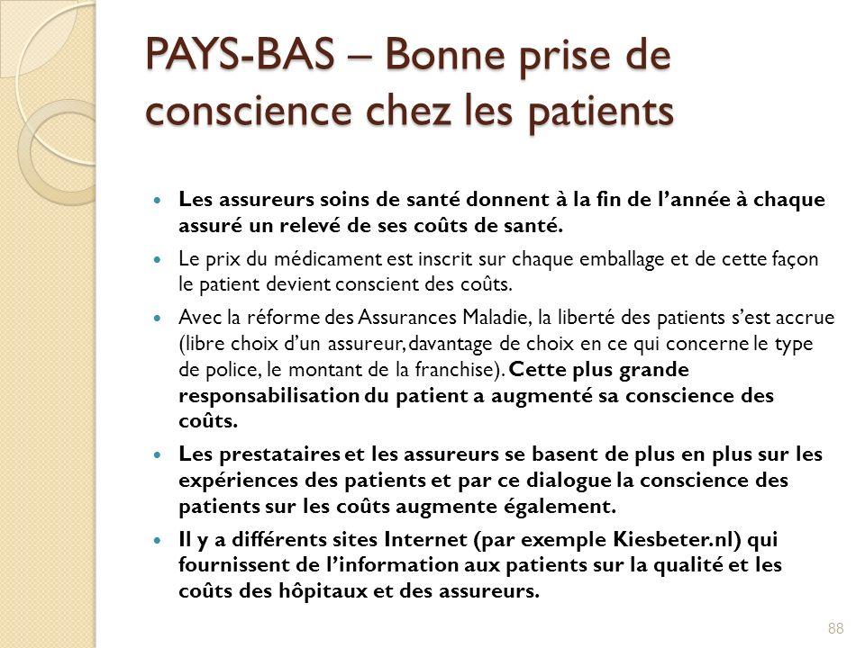 PAYS-BAS – Bonne prise de conscience chez les patients Les assureurs soins de santé donnent à la fin de lannée à chaque assuré un relevé de ses coûts
