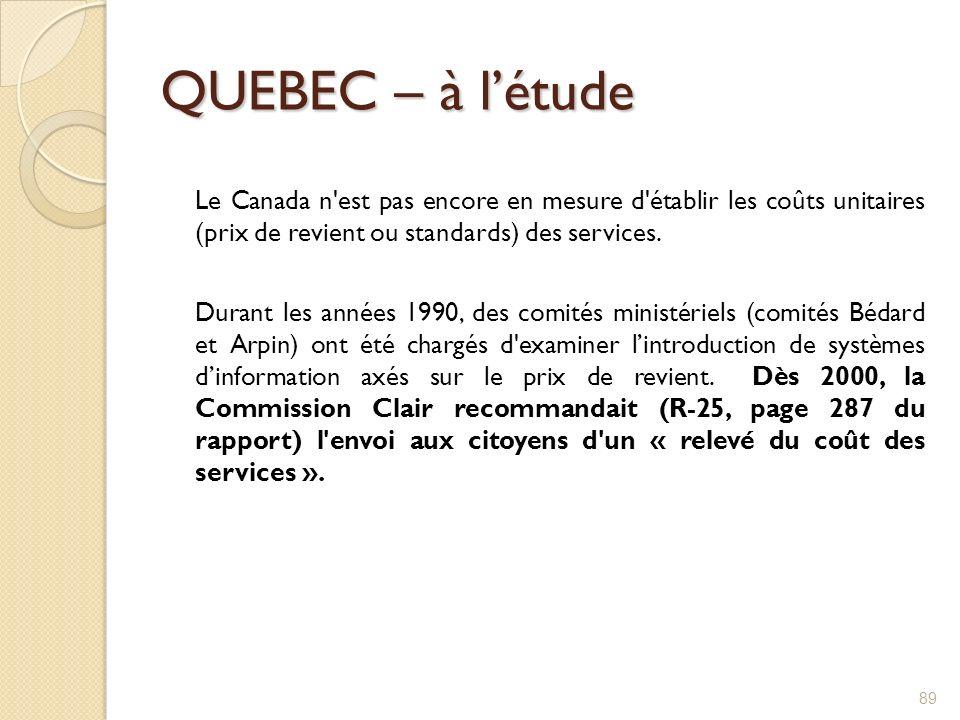 QUEBEC – à létude Le Canada n'est pas encore en mesure d'établir les coûts unitaires (prix de revient ou standards) des services. Durant les années 19