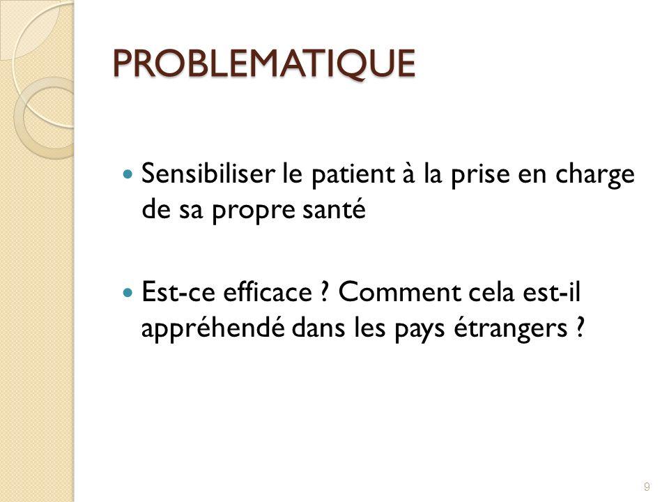 PROBLEMATIQUE Sensibiliser le patient à la prise en charge de sa propre santé Est-ce efficace ? Comment cela est-il appréhendé dans les pays étrangers