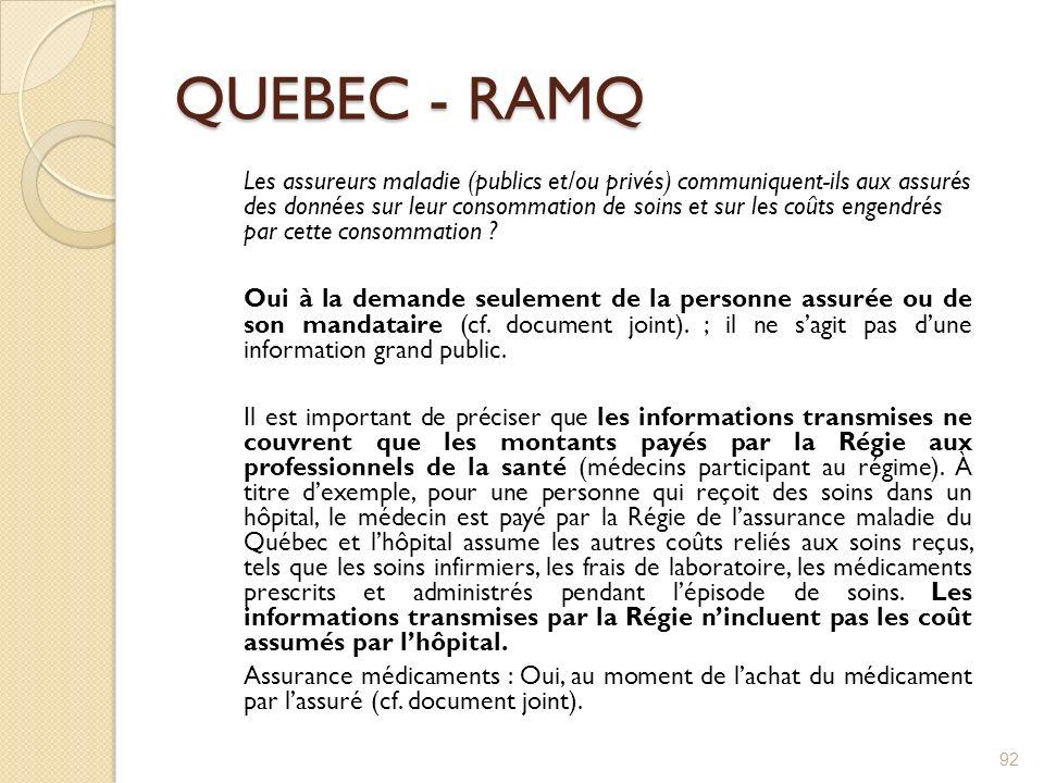 QUEBEC - RAMQ Les assureurs maladie (publics et/ou privés) communiquent-ils aux assurés des données sur leur consommation de soins et sur les coûts en