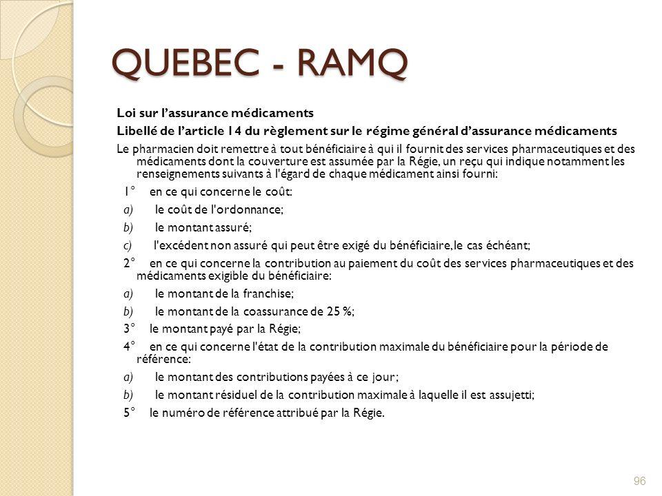 QUEBEC - RAMQ Loi sur lassurance médicaments Libellé de larticle 14 du règlement sur le régime général dassurance médicaments Le pharmacien doit remet