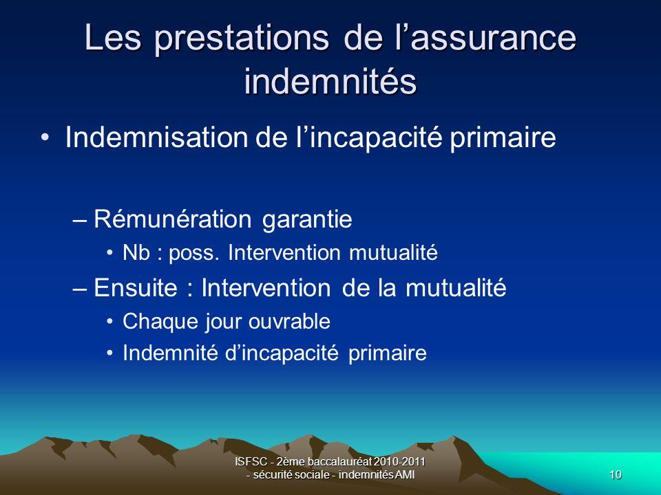ISFSC - 2ème baccalauréat 2010-2011 - sécurité sociale - indemnités AMI10 Les prestations de lassurance indemnités Indemnisation de lincapacité primai