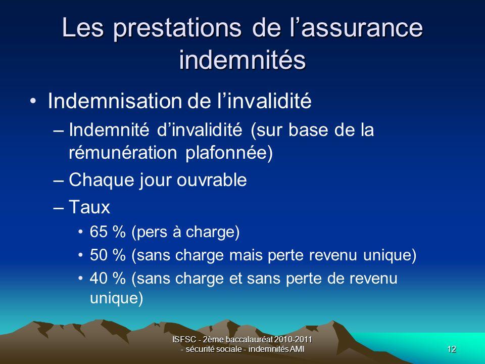 ISFSC - 2ème baccalauréat 2010-2011 - sécurité sociale - indemnités AMI12 Les prestations de lassurance indemnités Indemnisation de linvalidité –Indem