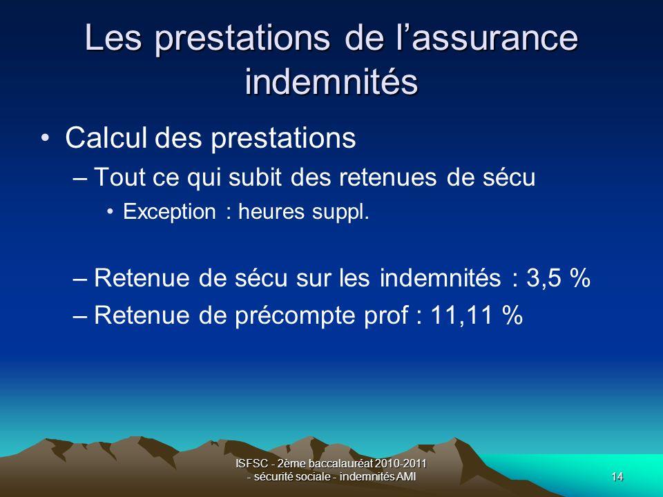 ISFSC - 2ème baccalauréat 2010-2011 - sécurité sociale - indemnités AMI14 Les prestations de lassurance indemnités Calcul des prestations –Tout ce qui subit des retenues de sécu Exception : heures suppl.