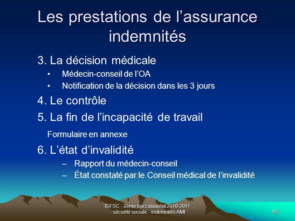 ISFSC - 2ème baccalauréat 2010-2011 - sécurité sociale - indemnités AMI18 Les prestations de lassurance indemnités 3. La décision médicale Médecin-con