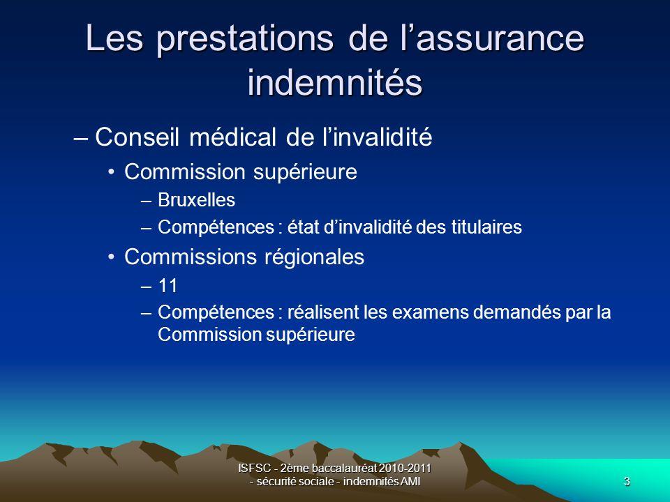ISFSC - 2ème baccalauréat 2010-2011 - sécurité sociale - indemnités AMI3 Les prestations de lassurance indemnités –Conseil médical de linvalidité Comm