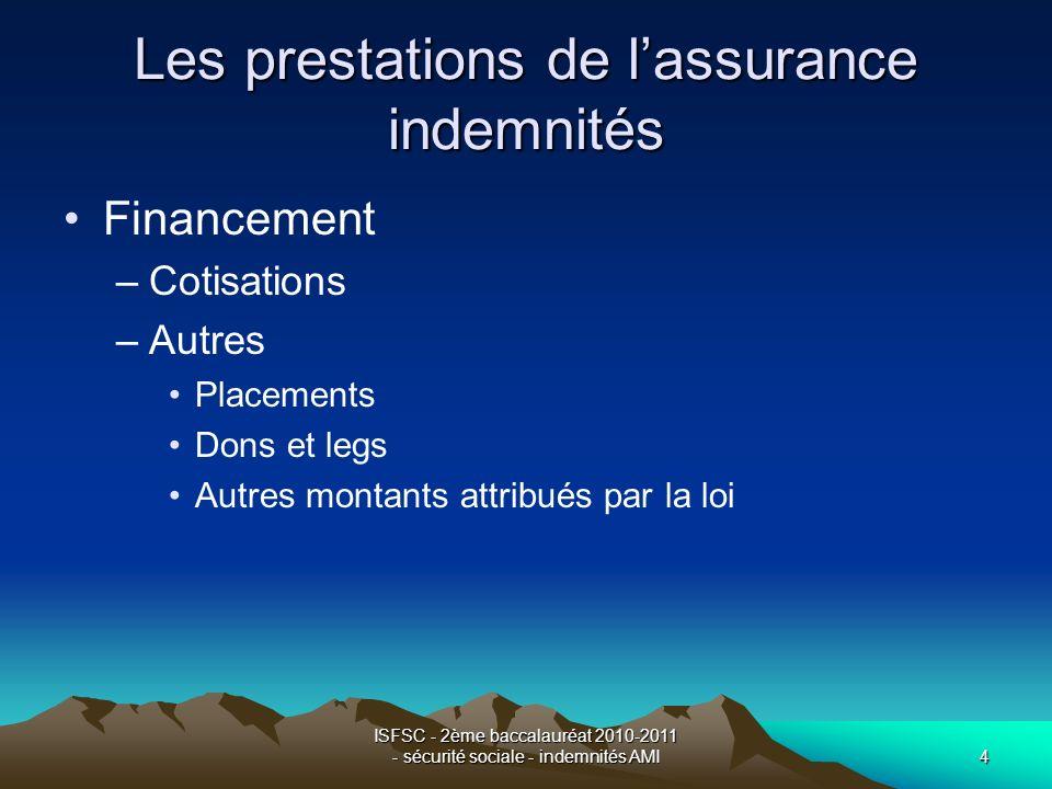 ISFSC - 2ème baccalauréat 2010-2011 - sécurité sociale - indemnités AMI4 Les prestations de lassurance indemnités Financement –Cotisations –Autres Pla