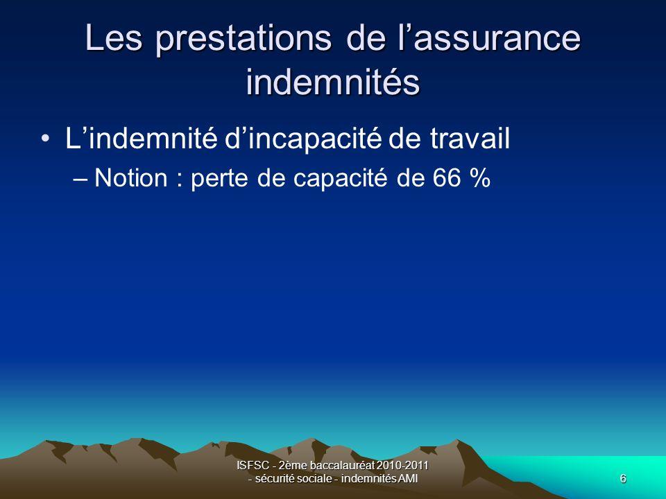 ISFSC - 2ème baccalauréat 2010-2011 - sécurité sociale - indemnités AMI6 Les prestations de lassurance indemnités Lindemnité dincapacité de travail –N