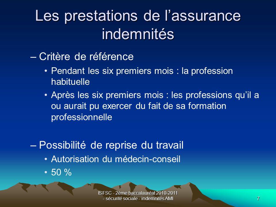 ISFSC - 2ème baccalauréat 2010-2011 - sécurité sociale - indemnités AMI7 Les prestations de lassurance indemnités –Critère de référence Pendant les si