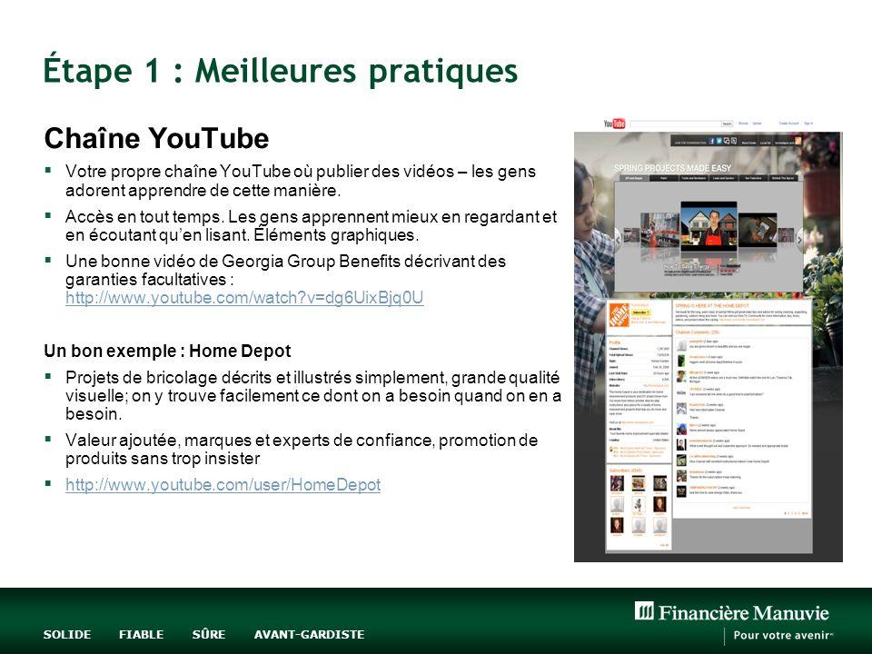 SOLIDE FIABLE SÛRE AVANT-GARDISTE Étape 1 : Meilleures pratiques Chaîne YouTube Votre propre chaîne YouTube où publier des vidéos – les gens adorent apprendre de cette manière.