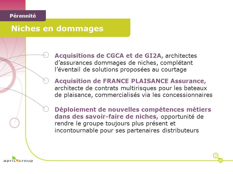 < < Pérennité Acquisitions de CGCA et de GI2A, architectes dassurances dommages de niches, complétant léventail de solutions proposées au courtage Acq